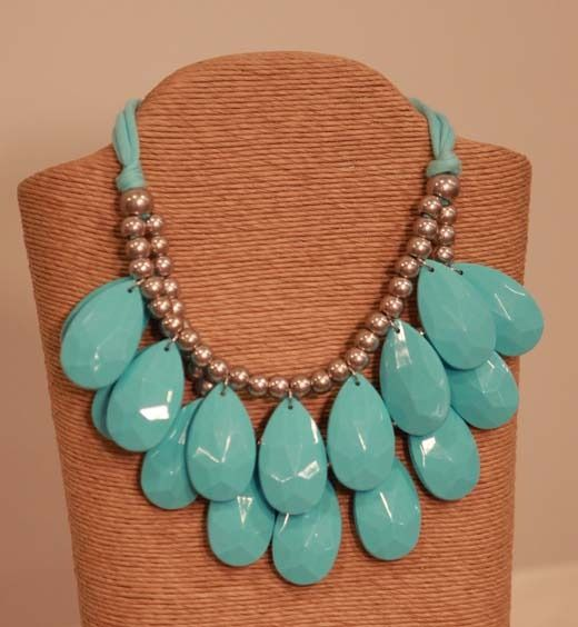 Turquoise Tear Drop Statement Necklace from Southern Jewelry Auctions
