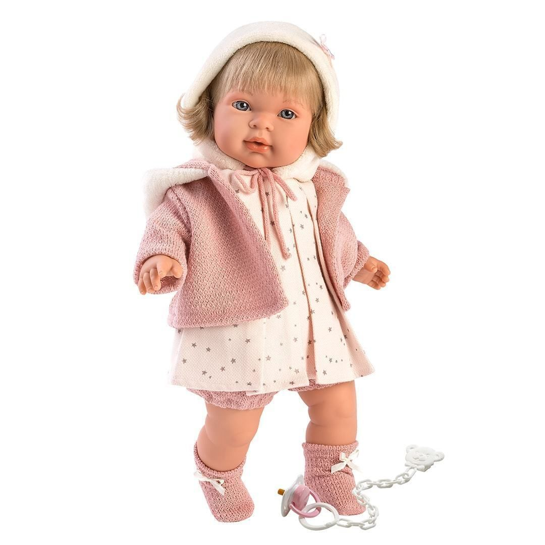 Llorens Spanish Doll - Lucy #spanishdolls Brand:LlorensBody:Soft BodiedSize: 16.5″ (42cm)Made in: SpainComes with: Dummy, Chain, Outfit #spanishdolls