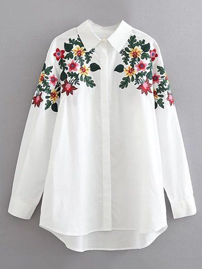 6e9c4f4e08 SHARE & Get it FREE | Floral Embroidered Cotton Shirt - WhiteFor Fashion  Lovers only:80,000+ Items • New Arrivals Daily Join Zaful: Get YOUR $50 NOW!