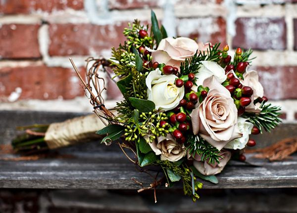 Winter Wedding Bouquet Pale Pink Roses And Red Berries