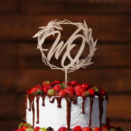 Topper Dekoracyjny Na Tort Geometryczny Wzor Z Inicjalami Food Cake Desserts