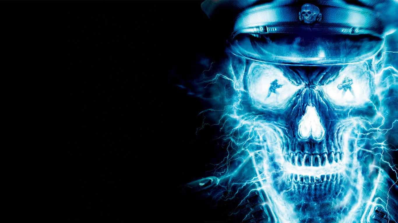 Cool Skulls On Blue Fire Background