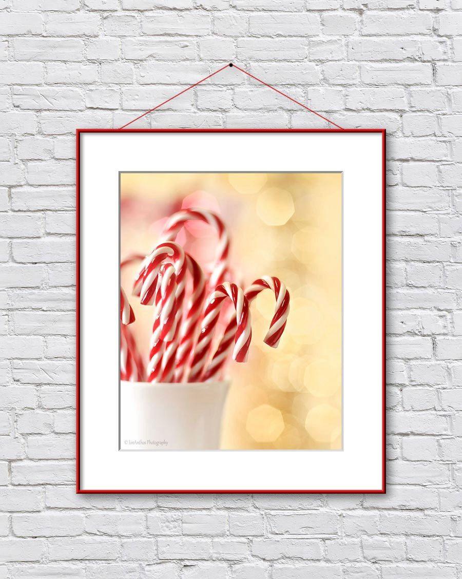 Christmas Photography Print Christmas Wall Art Red White Bokeh Wall ...