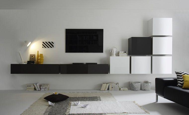Soggiorni moderni e un\'idea con mobili sospesi in bianco e nero ...