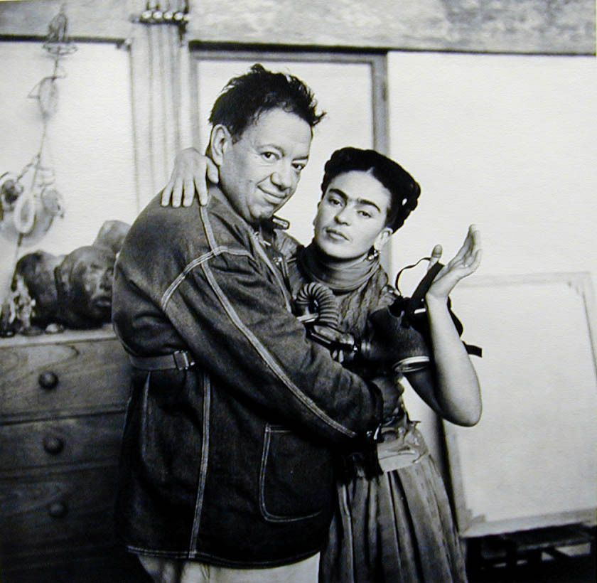 Nickolas Muray Frida and Diego with Gas Mask