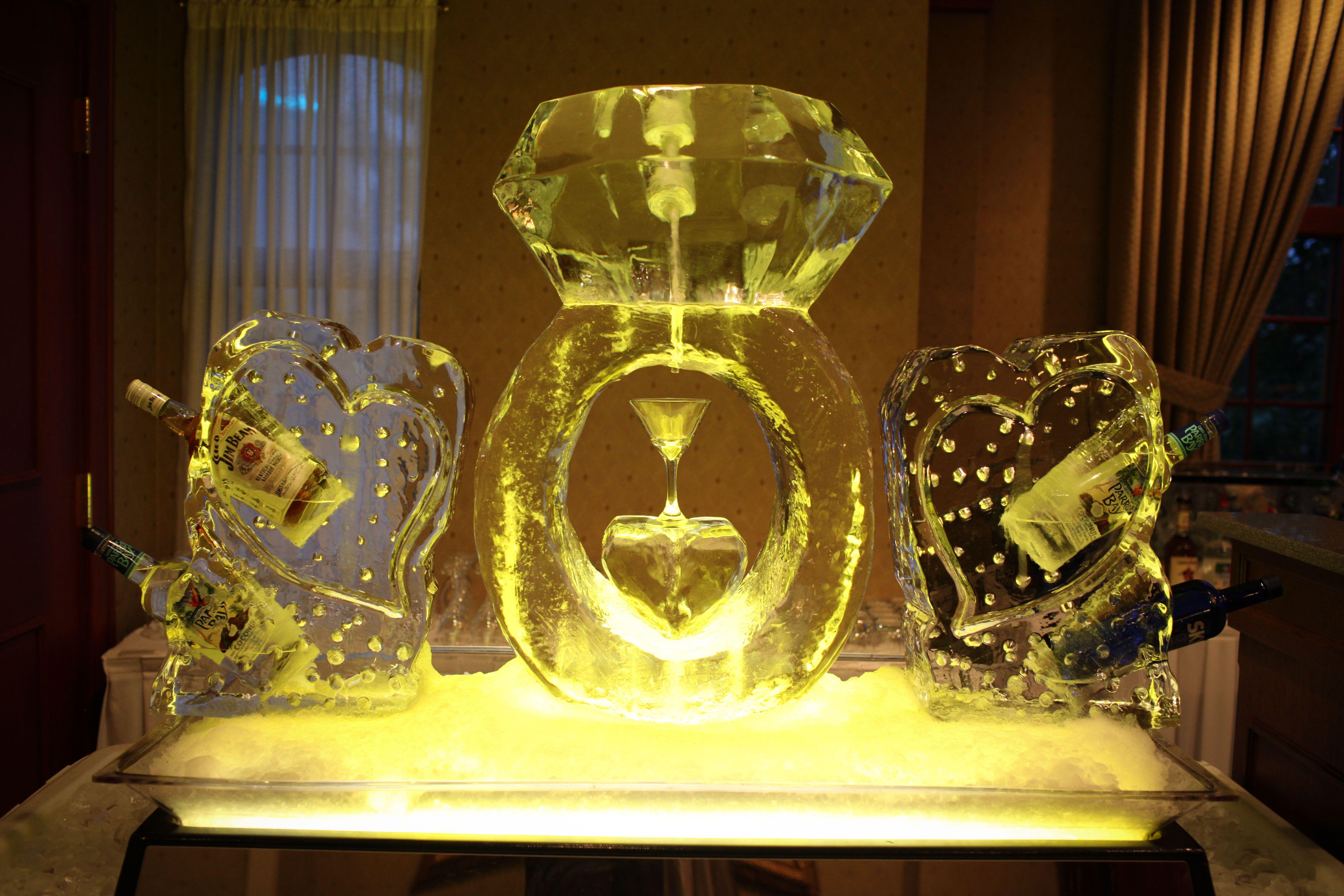 Turning Stone Ice Sculpture - Diamond Ring Martini Luge