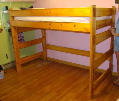 nice twin size loft bed real pine with honey oak finish