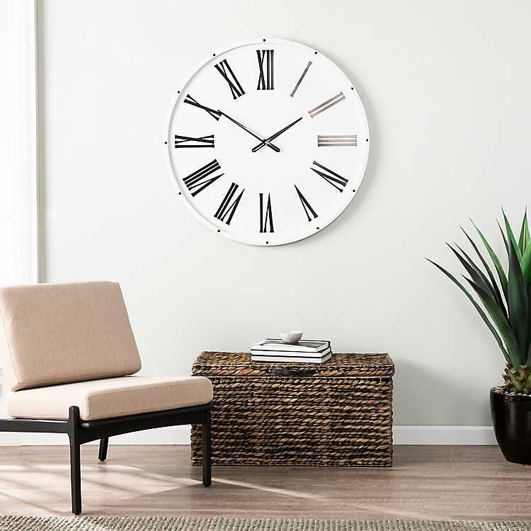 White and Black Pemley Oversized Wall Clock Living room