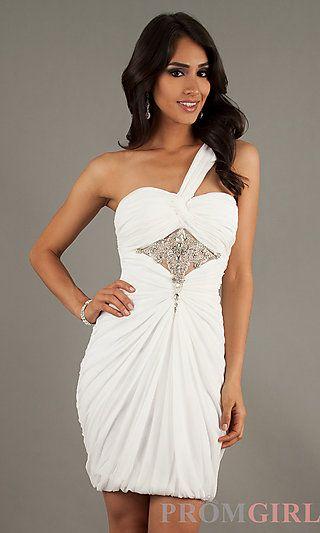 Short One Shoulder Ruched Dress at PromGirl.com