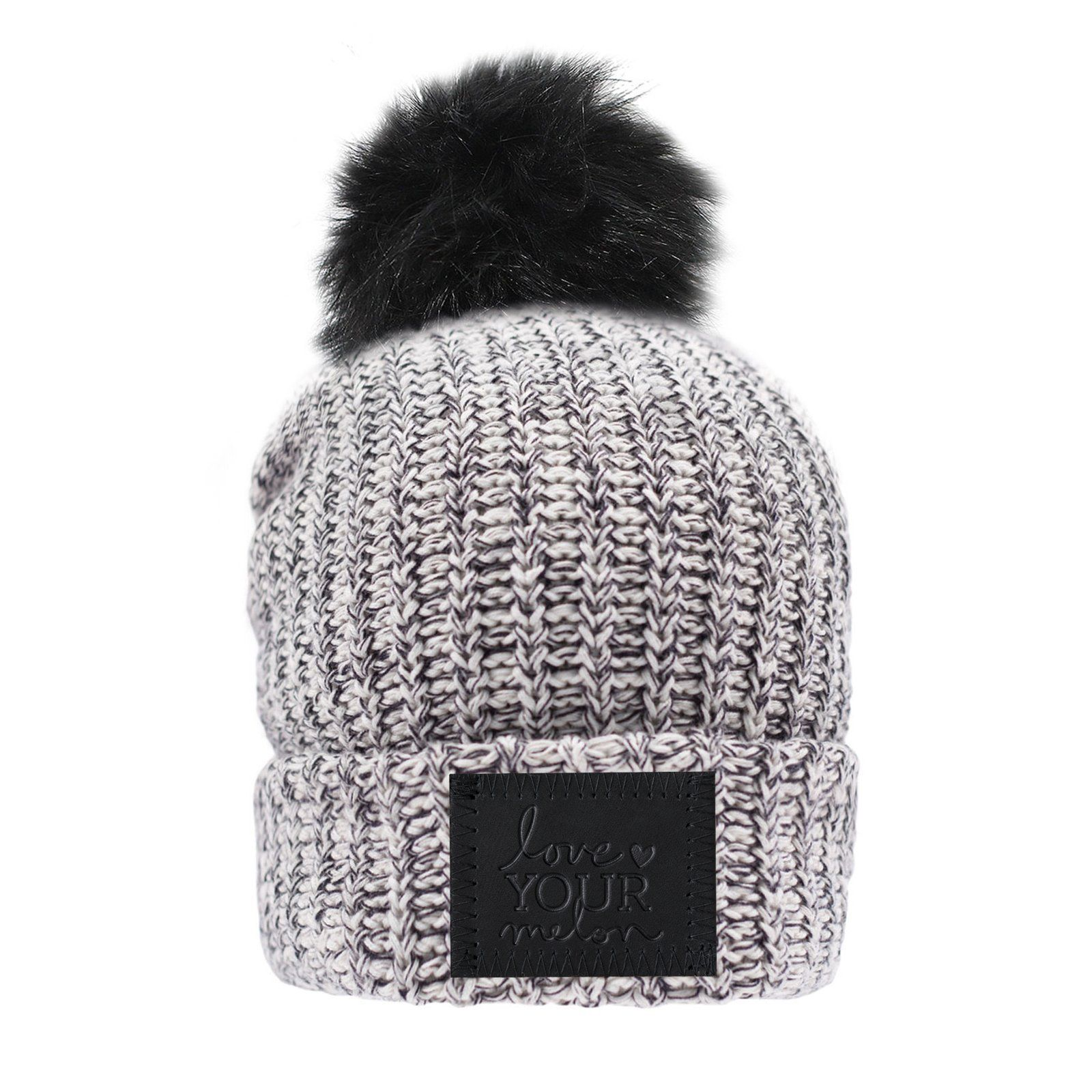 Love Your Melon Black Speckled Pom Beanie (Black Leather Patch ... ece3c8cef6c