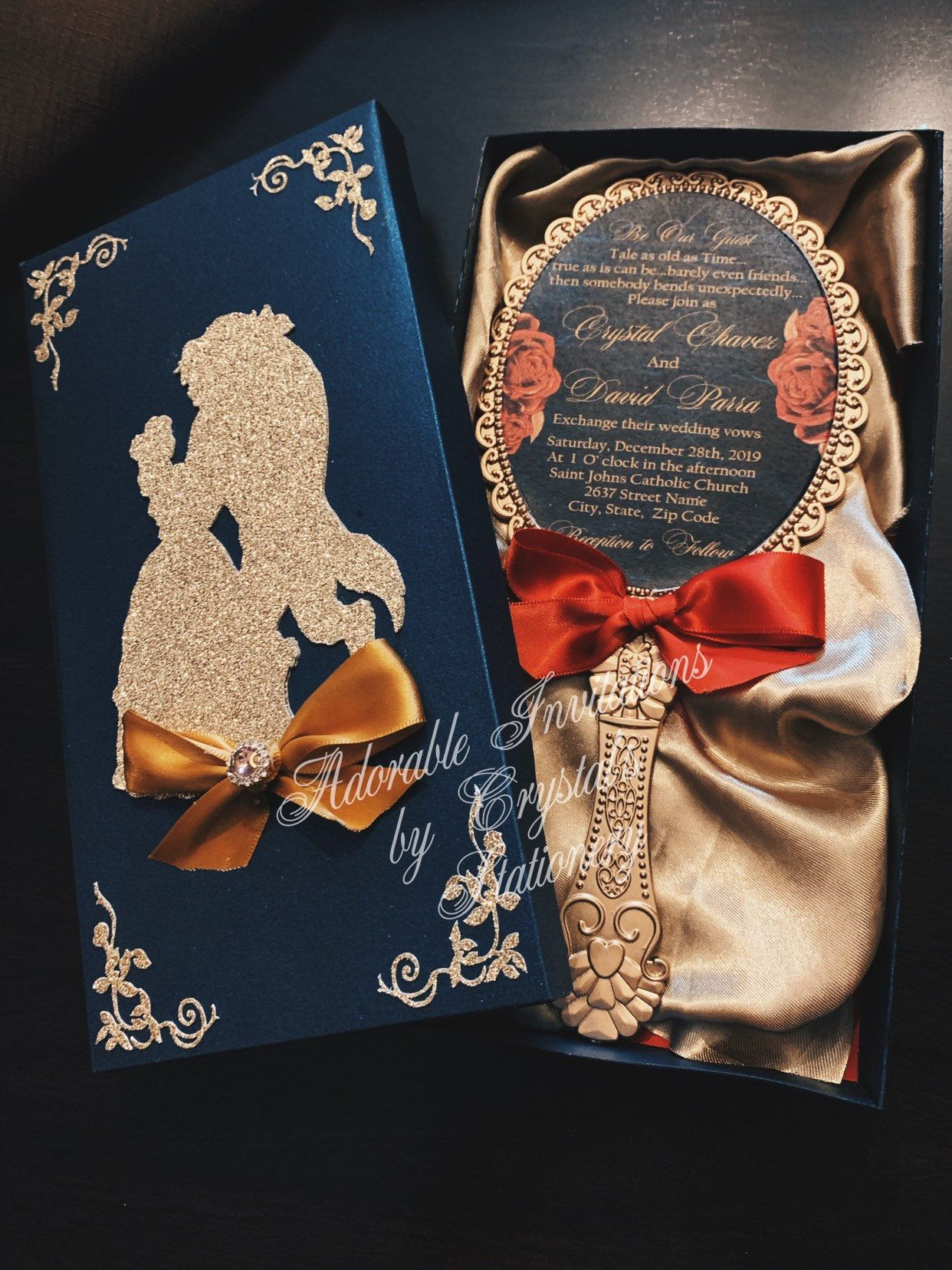 Beauty and the beast Invitations for wedding Quinceañera sweet sixteen or any other event #fiestade15años