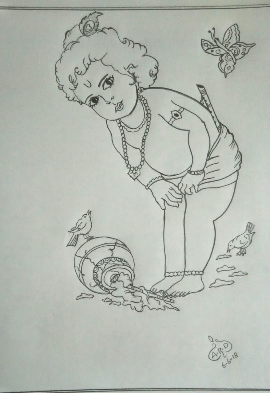 Lord krishna pencil drawing