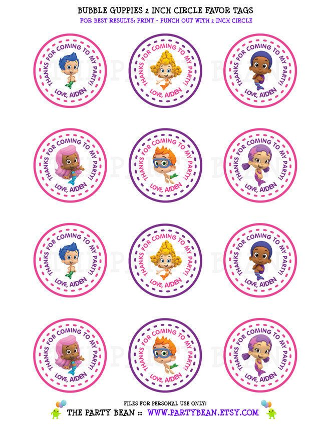 Bubble Guppies Birthday Party Thank You Favor Tags- Pink & Purple ...