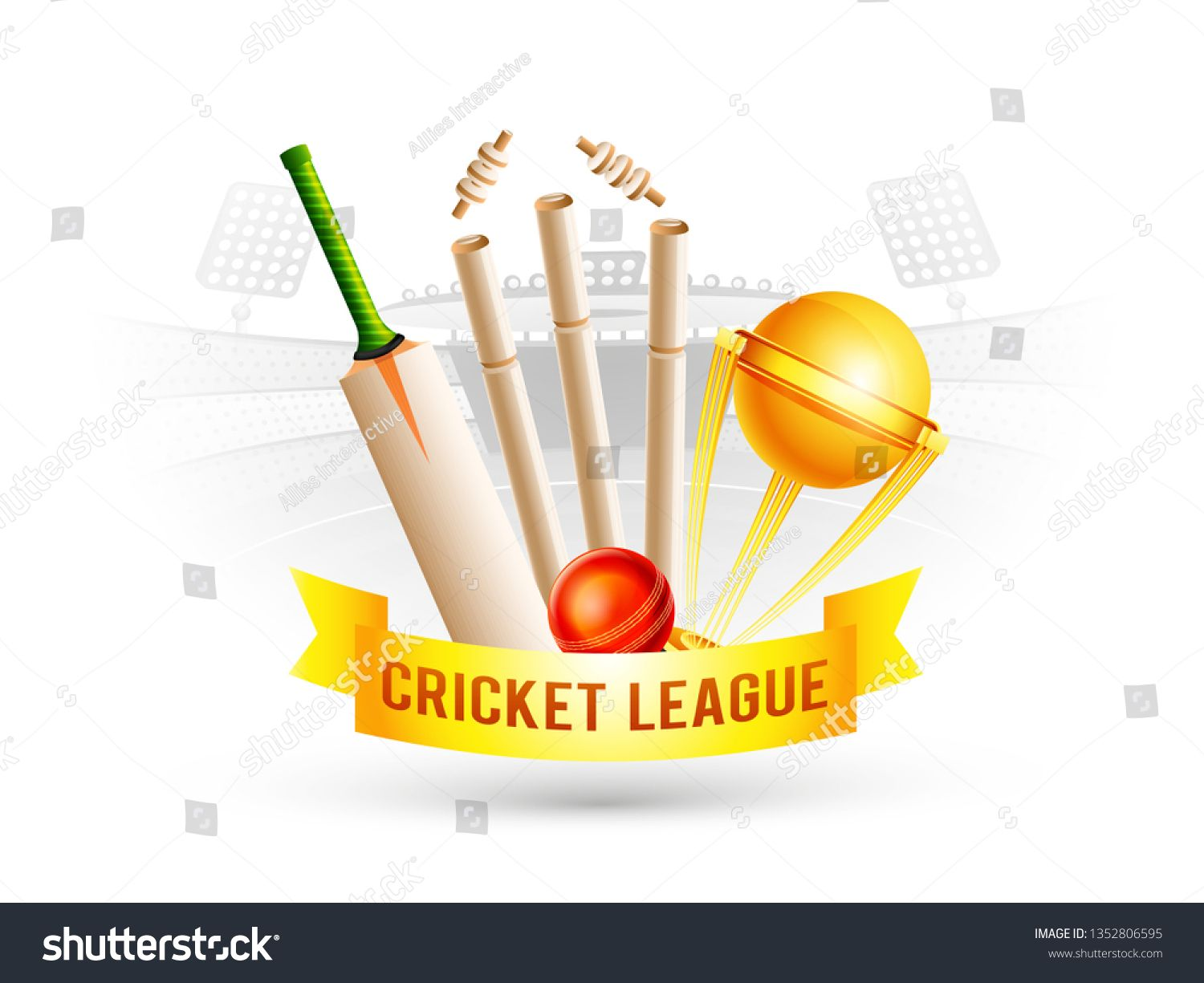 Realistic Golden Trophy Bat Ball And Stumps With Golden Ribbon For Cricket League On Stadium Silhouette Background Ad Abstract Design Name Plate Trophy