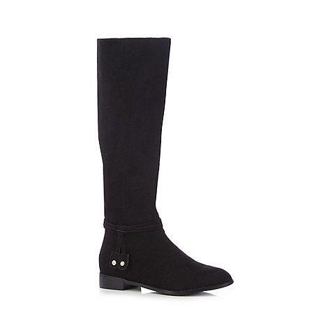 Boots, Black flat knee high boots, Knee