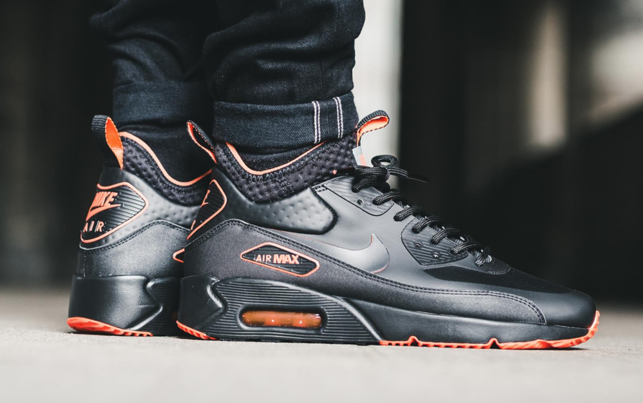 Nike Air Max 90 Ultra Mid Winter Black Total Crimson Ready
