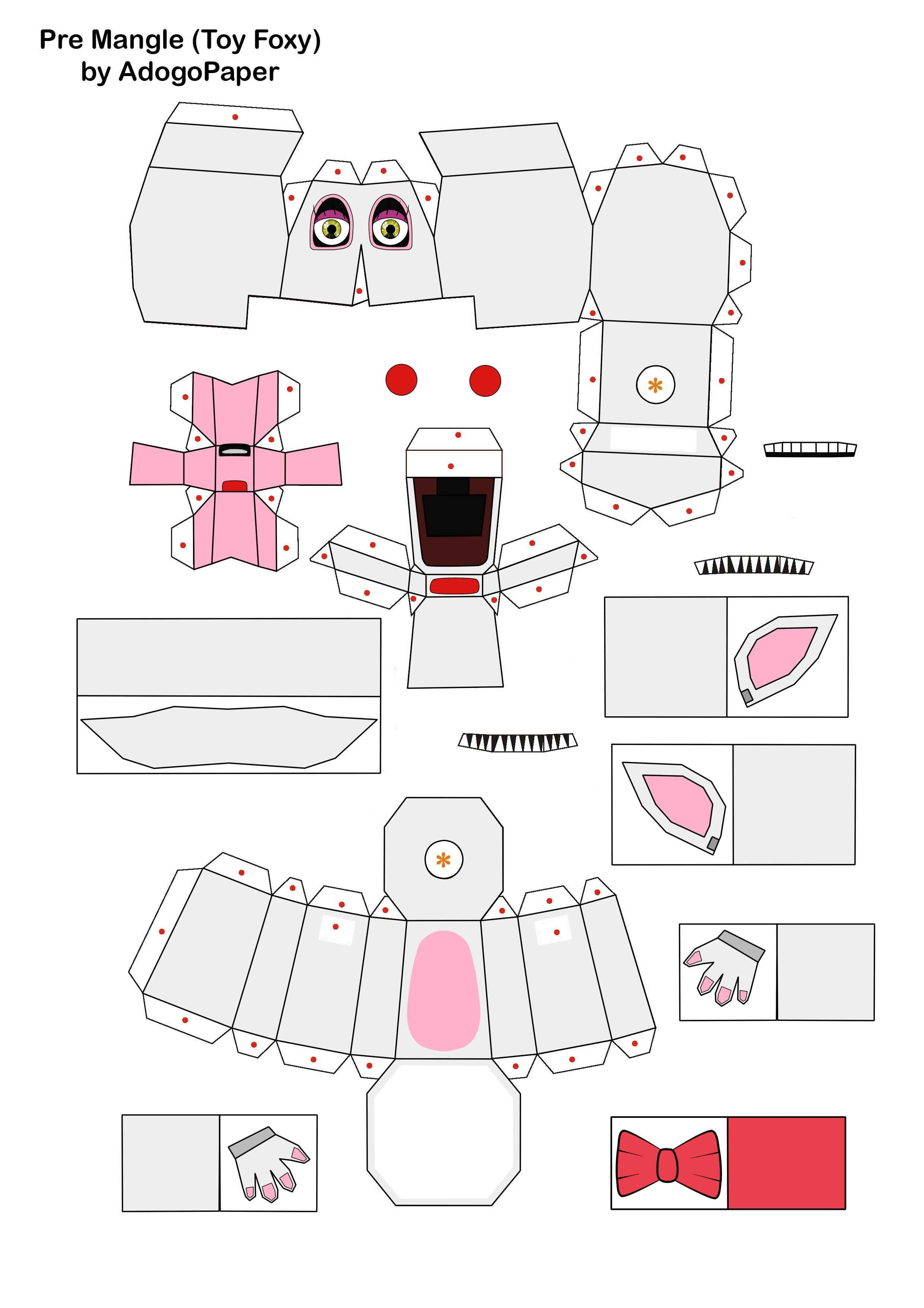five nights at freddy\'s 2 pre-mangle papercraft P1 by Adogopaper ...