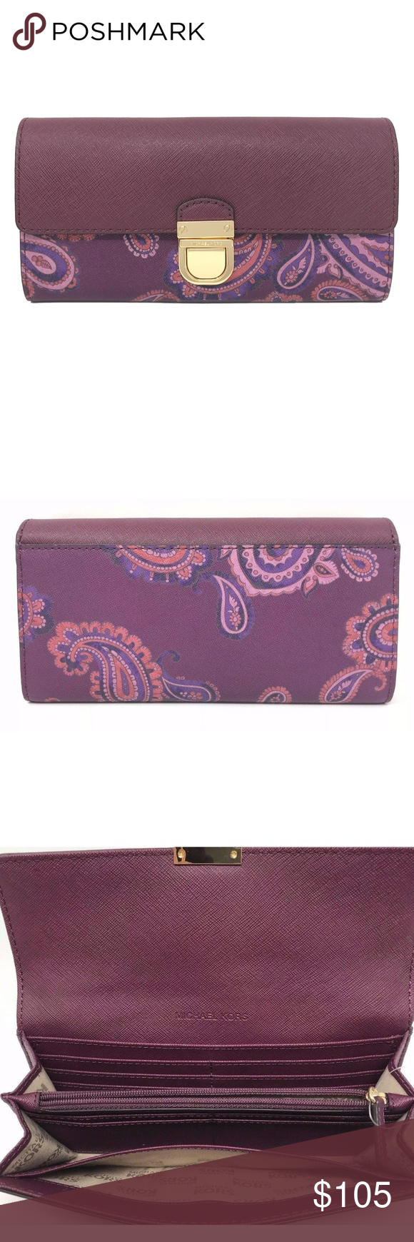 d89367ae67bc Michael Kors Bridgette Paisley Leather Plum Wallet Michael Kors Bridgette  Paisley Leather MK Signature Women's Flap