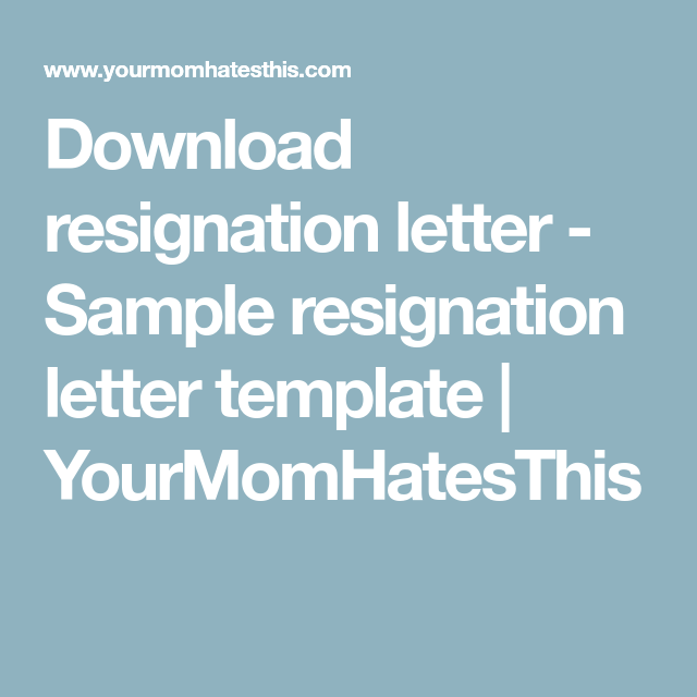 Download Resignation Letter  Sample Resignation Letter Template
