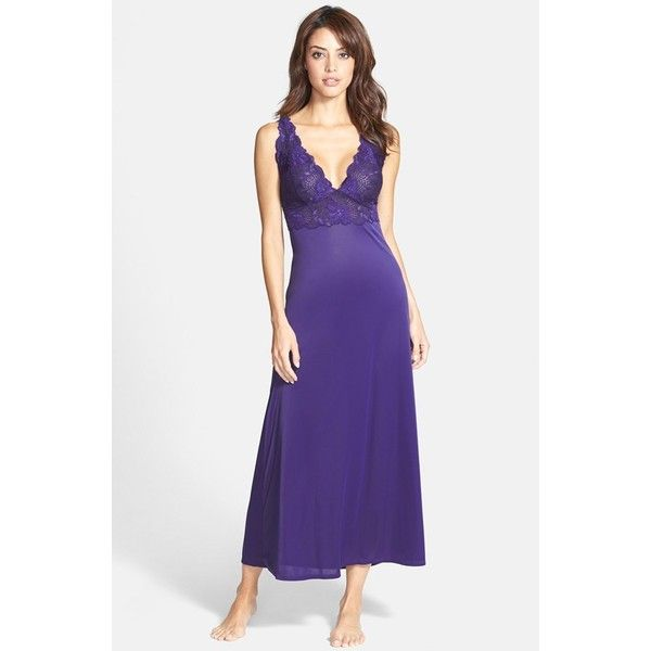 Natori \'Aphrodite Zen\' Floral Lace Trim Nightgown ($190) ❤ liked on ...