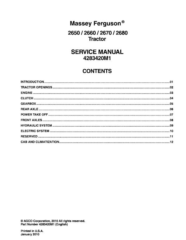 Massey Ferguson 2650 2660 2670 2680 Tractor Service Manual Tractors Massey Ferguson Tractors Massey Ferguson