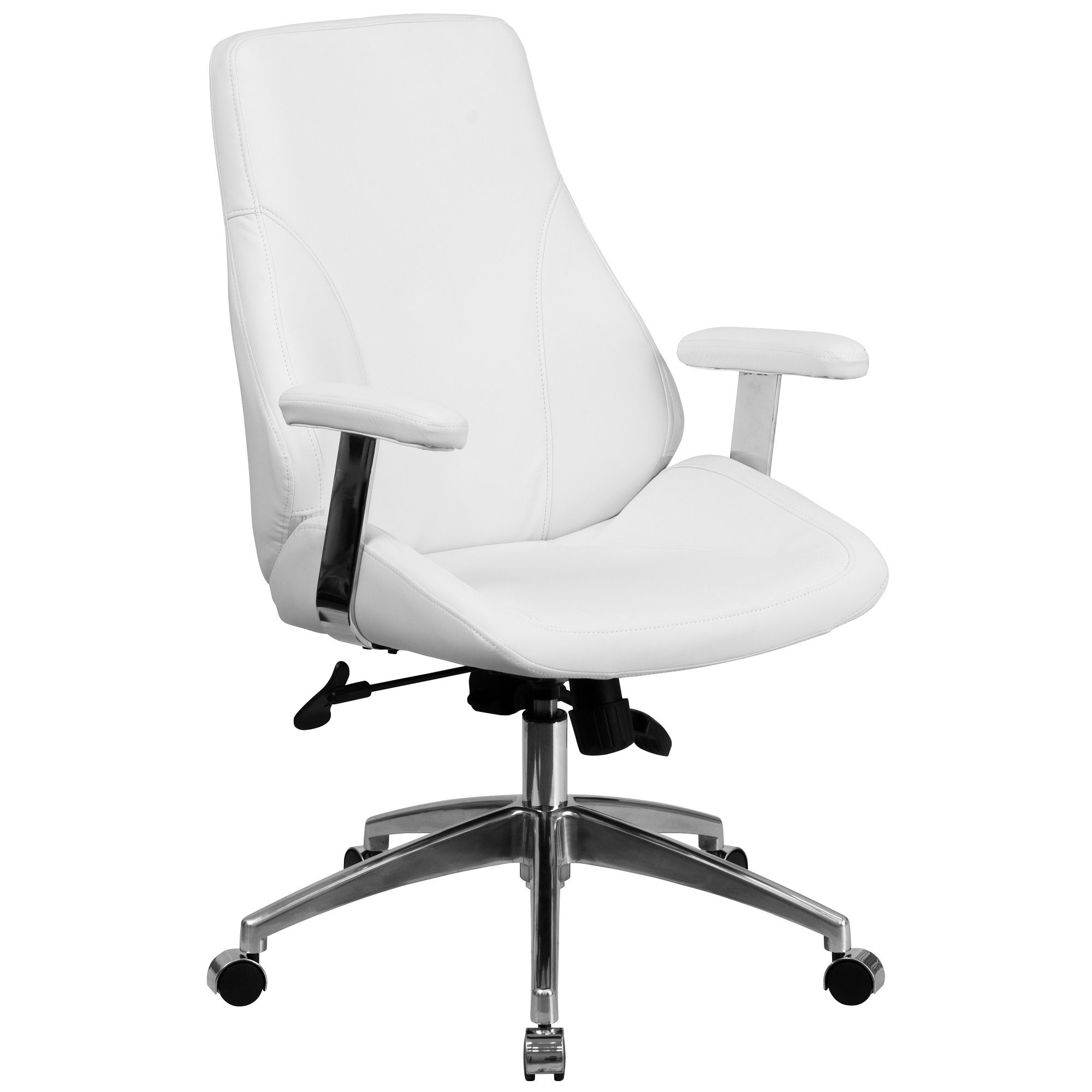 44250 white leather midback smooth upholstered