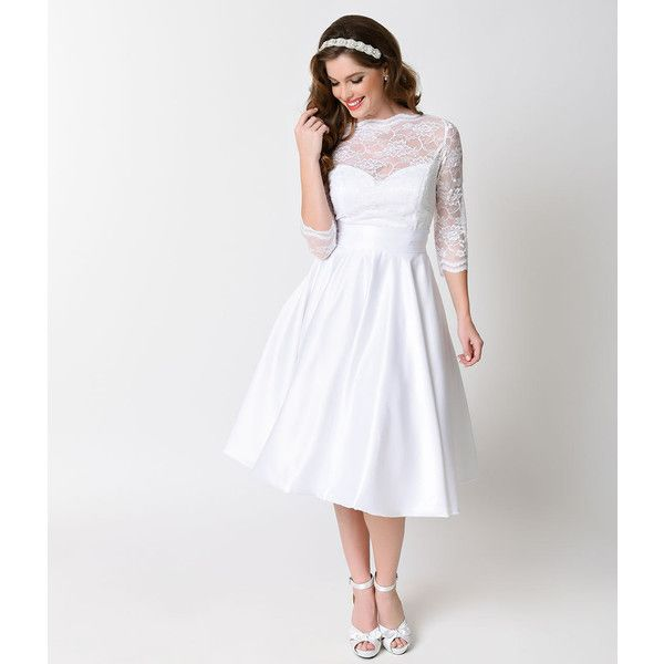 1950s Style White Sleeved Lace Satin Colette Wedding Swing Dress 298 Liked