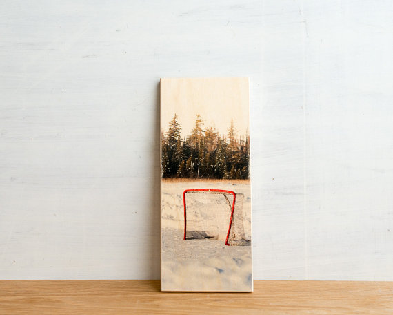 Ice Hockey Photo Transfer Art Block  'Empty Net' by PatrickLajoie