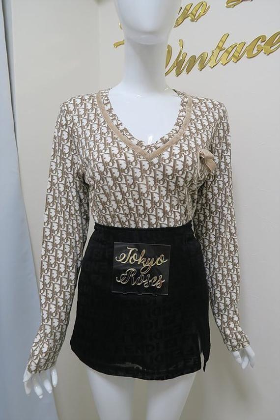 edfb82aaea Christian Dior Long Sleeve Trotter Logo Monogram Print Top Velvet Bow Christian  Dior Bags, Jacket