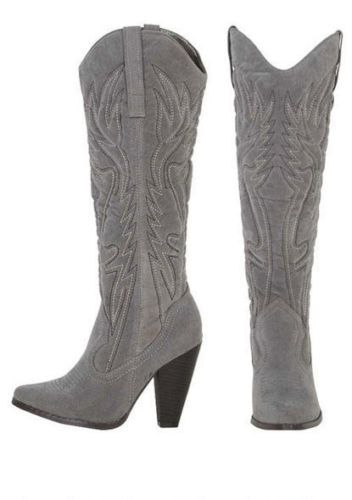 9716ff10acb New Gray Vegan Suede Embroidered Cowboy Boots Womens Size 9 New ...