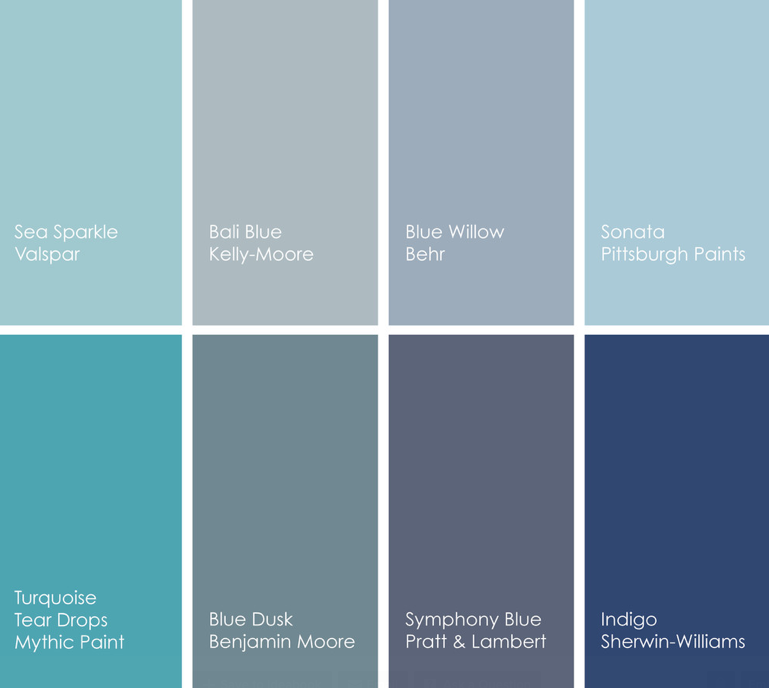Beautiful shades of Blue - thinking of using Blue Dusk in my half bath. Blue  Willow in a possibility too.