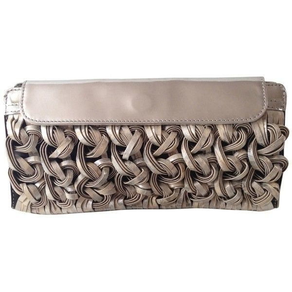 Pre-owned Isabel Sieve (metallic Silver And Beige) Clutch ($171) ❤ liked on Polyvore featuring bags, handbags, clutches, handbags purses, beige clutches, satchel bag, brown satchel and hand bags
