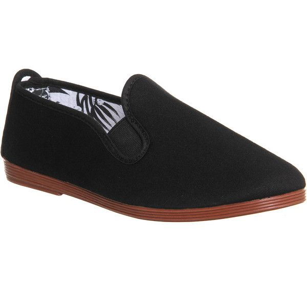 For Women Black Womens Flossy Plimsoll Flats Black Shoes