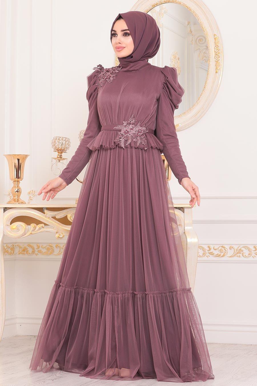 Tesetturlu Abiye Elbise Dantelli Gul Kurusu Tesettur Abiye Elbise 4098gk Tesetturisland Com 2020 Elbise Moda Stilleri Musluman Modasi