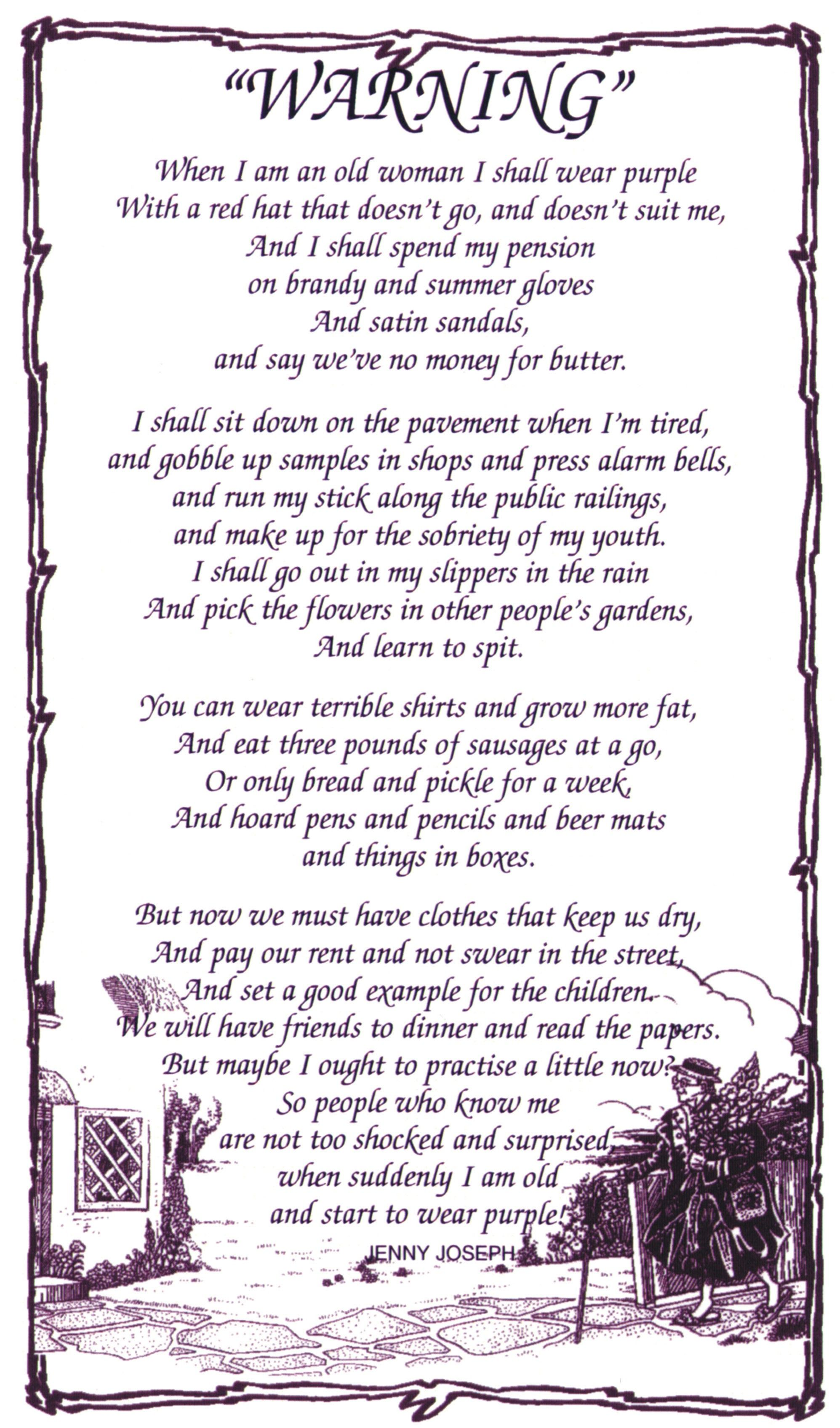warning poem by jenny joseph