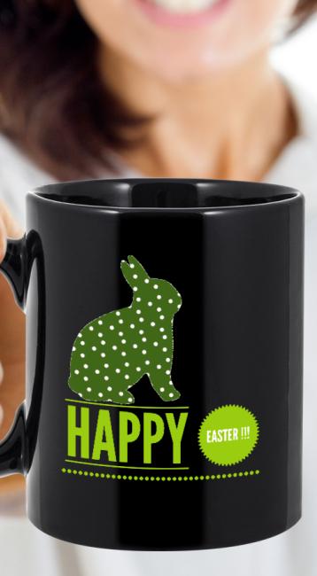 Happy easter bunny ceramic coffee mug black 11oz cute easter easter negle Choice Image