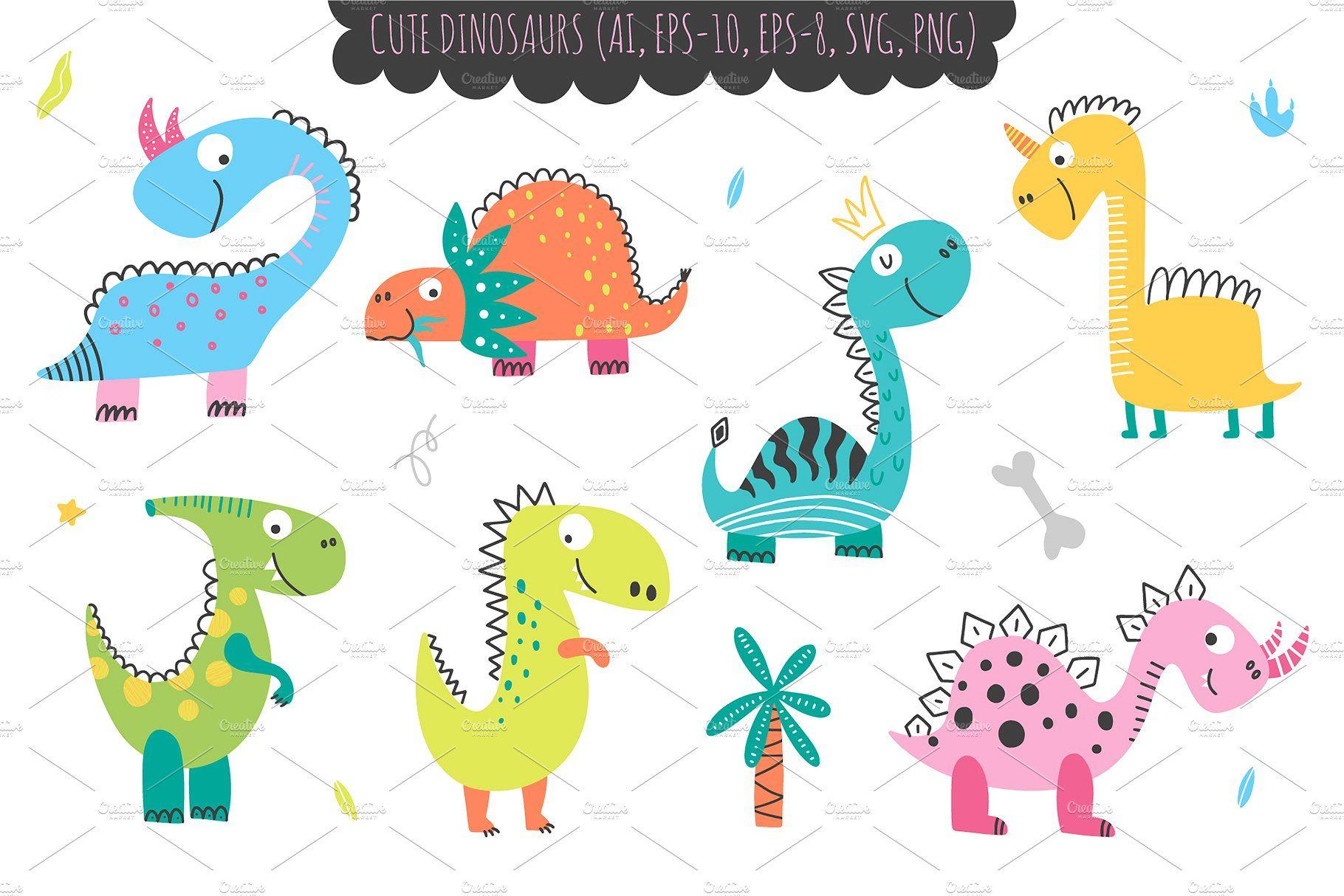 Dinosaurus Kids Collection Dragon Illustration Childrens