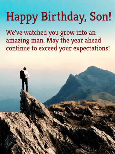 Send Free To An Amazing Man Happy Birthday Wishes Card For Son To
