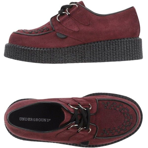 Underground Lace-up Shoes (595 BRL) ❤ liked on Polyvore featuring shoes, deep purple, lace up wedge shoes, lace up shoes, underground shoes, round cap and genuine leather shoes