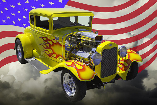 1930 Model A Hot Rod And American Flag Art Print by Keith Webber Jr #americanflagart