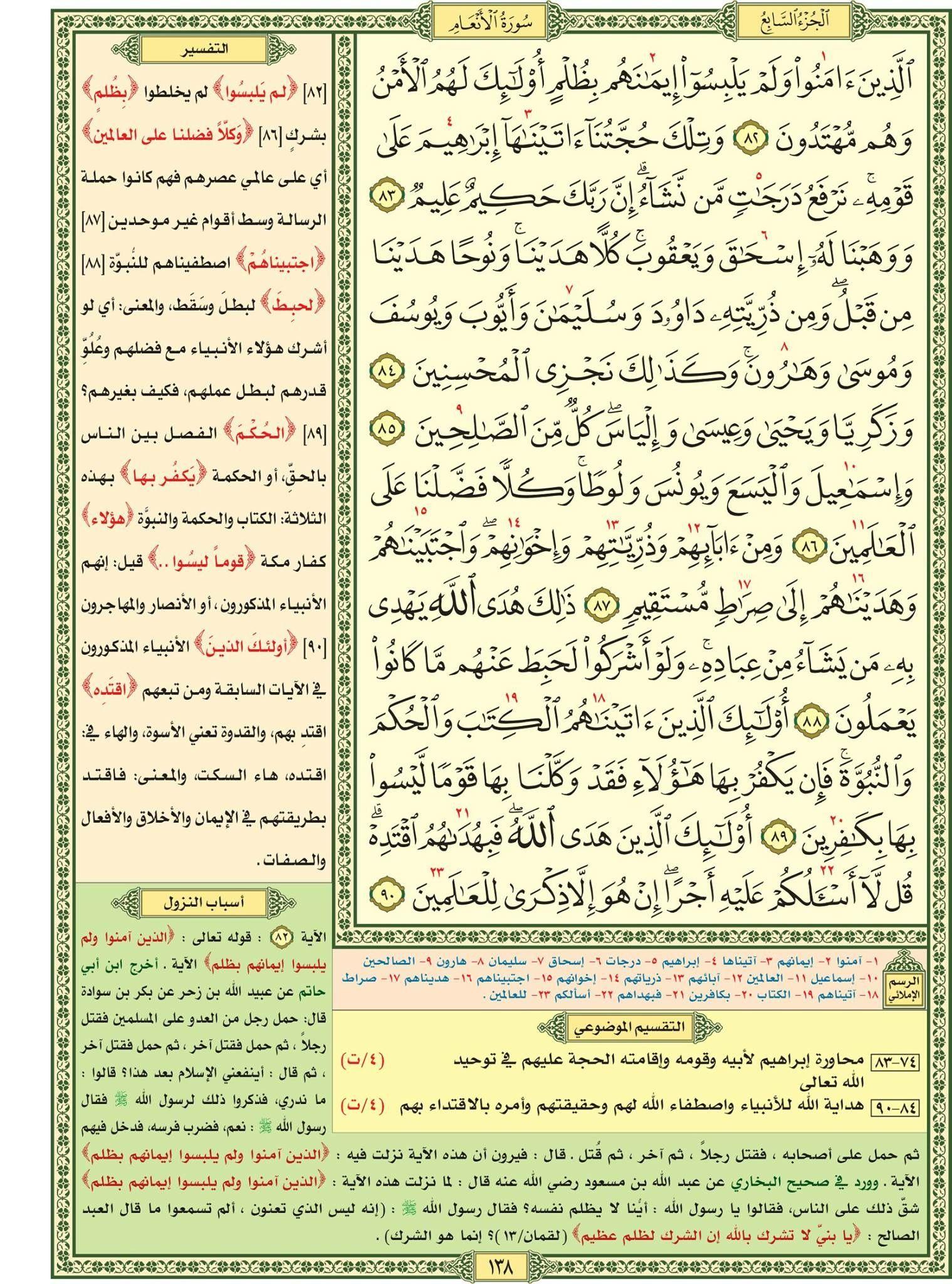 سورة الأنعام صفحة ١٣٨ مصحف التقسيم الموضوعي للحافظ المتقن Quran Verses Verses Quran