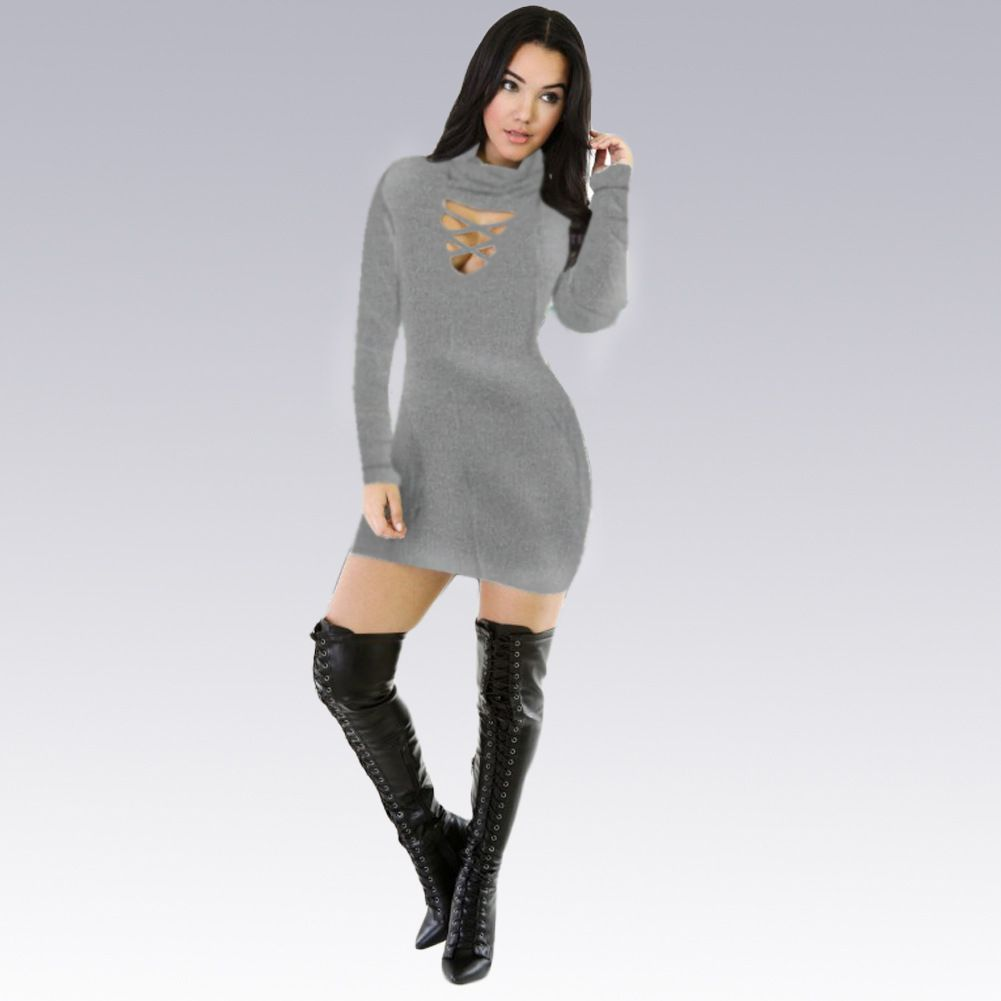 sexy women midi pencil club bandage bodycon long sleeve elastic
