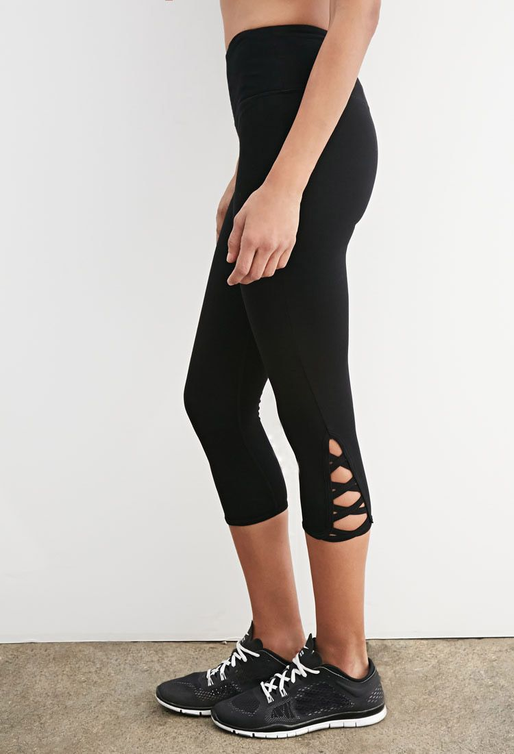 65b75d2a84 Crisscross-Cutout Capri Leggings - Activewear - Bottoms - 2000134318 - Forever  21 UK