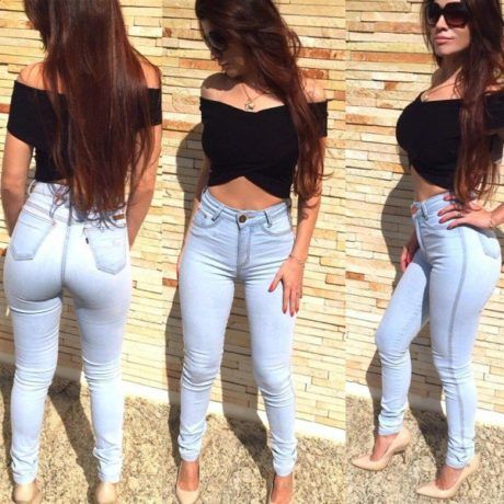 9a06e98a6 calca hot pants lavagem clara   jeans e cinza   Calça jeans clara ...