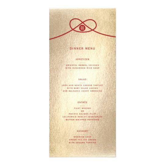 Chinese Wedding Food Menu: Double Happiness Knot Chinese Wedding Menu Card