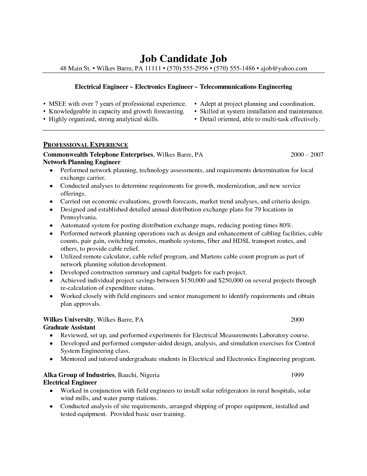 Electrical Engineer Resume Example Http Www Resumecareer Info Electrical Engineer Resum Engineering Resume Engineering Resume Templates Job Resume Examples