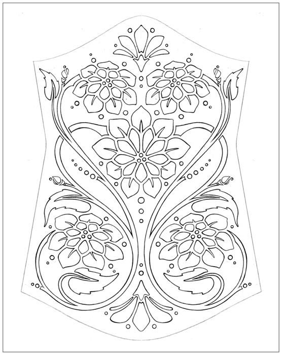 drawing for an embellishment pattern on the front of a corset ...