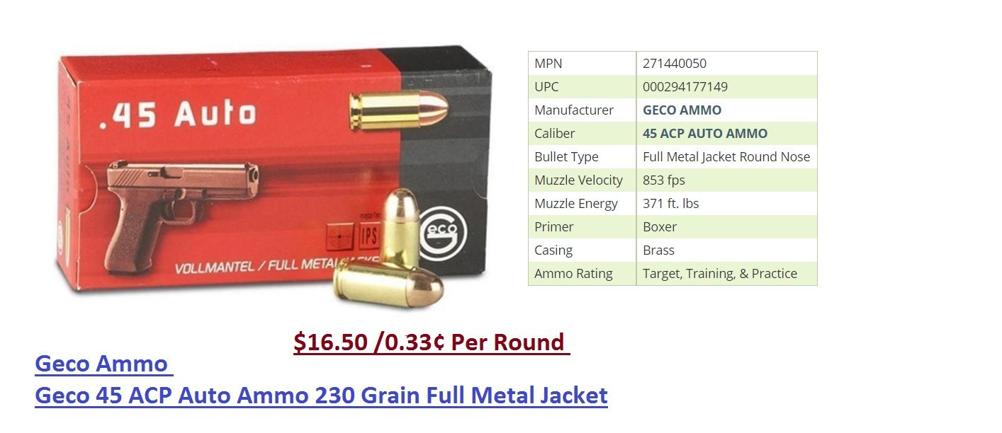 Geco 45 ammo for sale online at cheap discount prices with