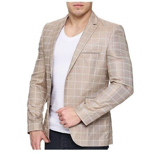 Herrensakko Sakko Blazer Anzug Slim Fit Elegant Casual Einreiher Beige Kariert Anzug Herren Herren Sakko Sakko