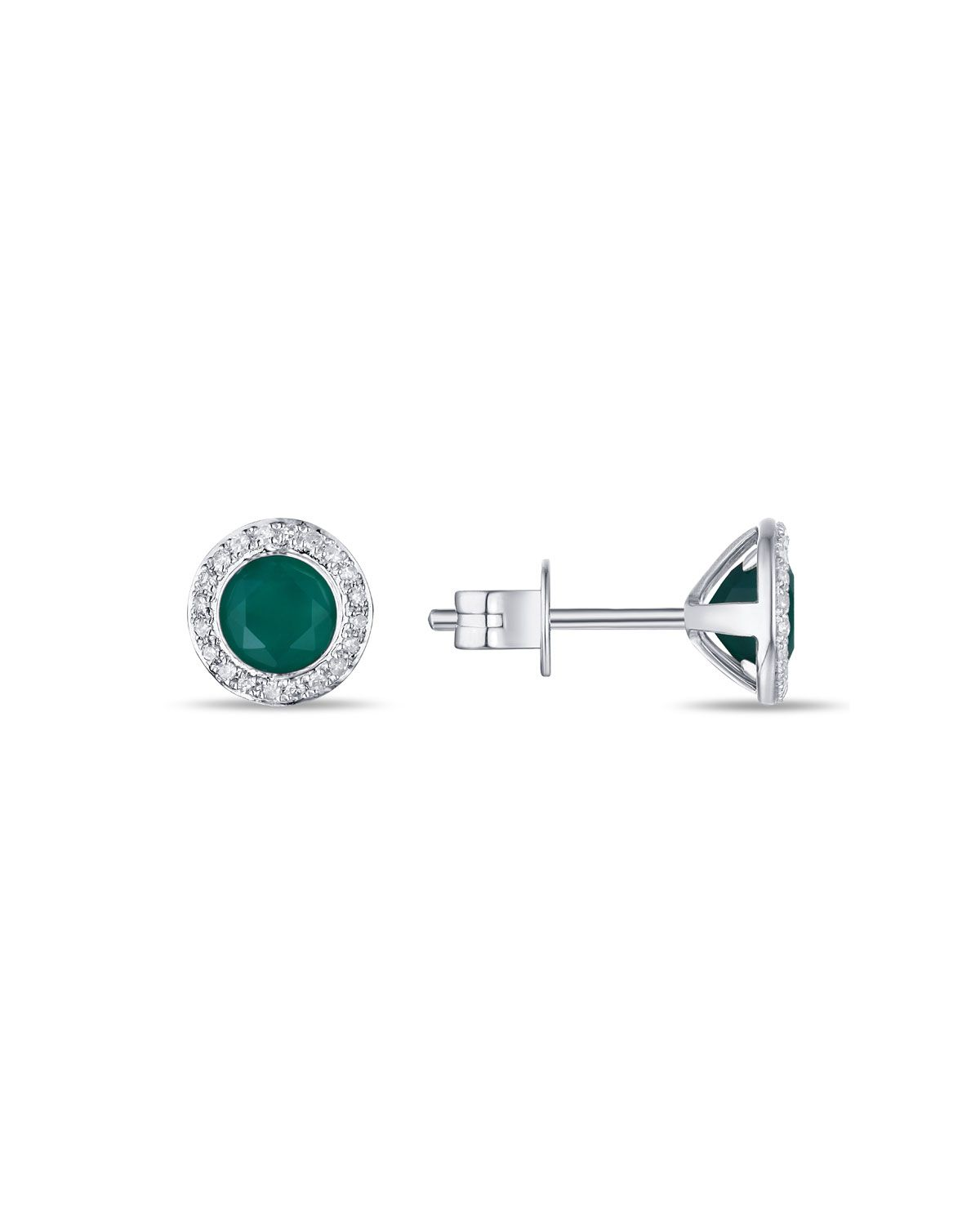 Diana M. Jewels 14k White Gold Round Green Agate & Diamond Stud Earrings